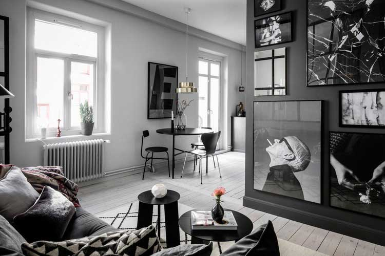 salon scandinave noir