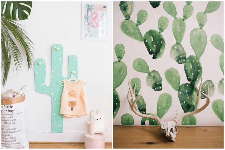 porte manteau et papier peint cactus