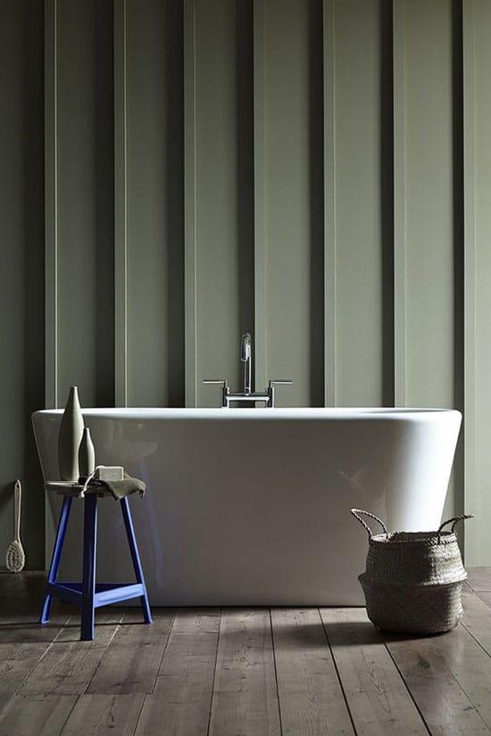 Salle de bain épurée couleur kaki