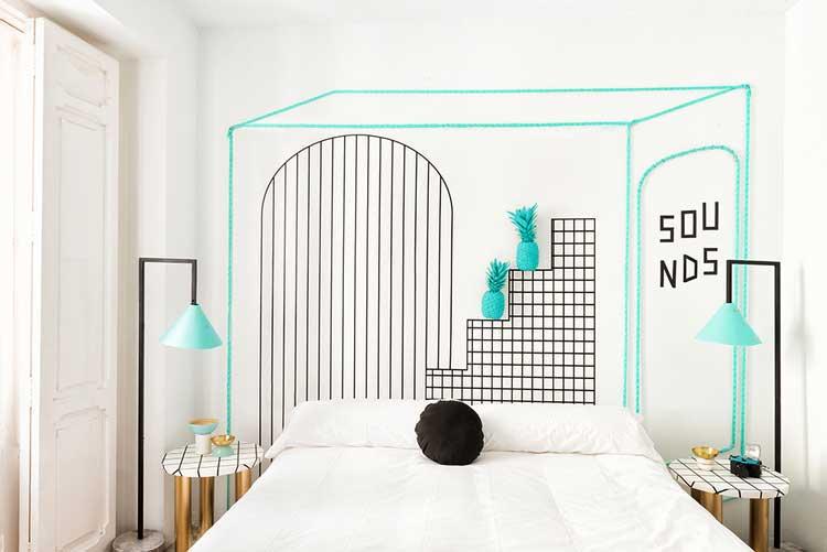 lignes dessinées sur murs chambre