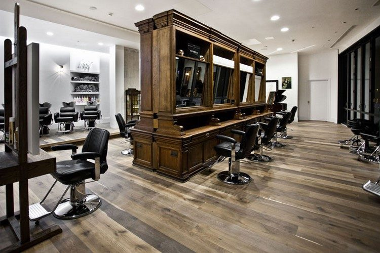 Amenagement salon de coiffure retro