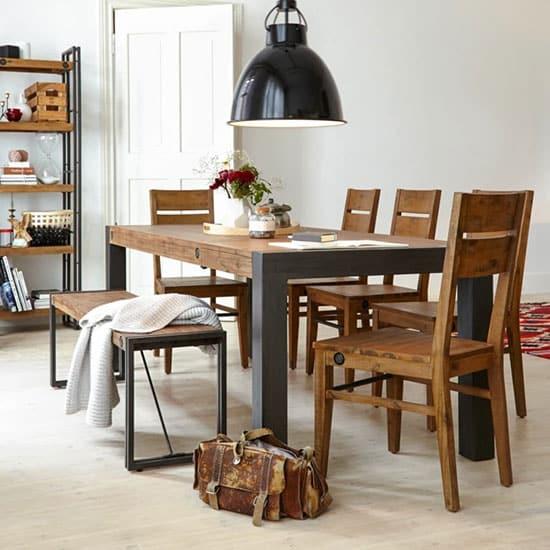Table style industriel avec rallonges pour 8