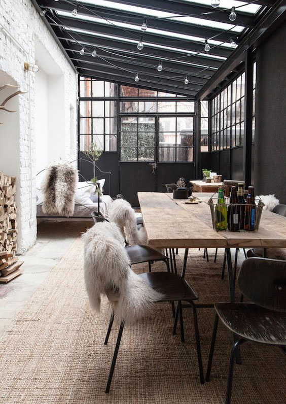 Table style industriel avec rallonge