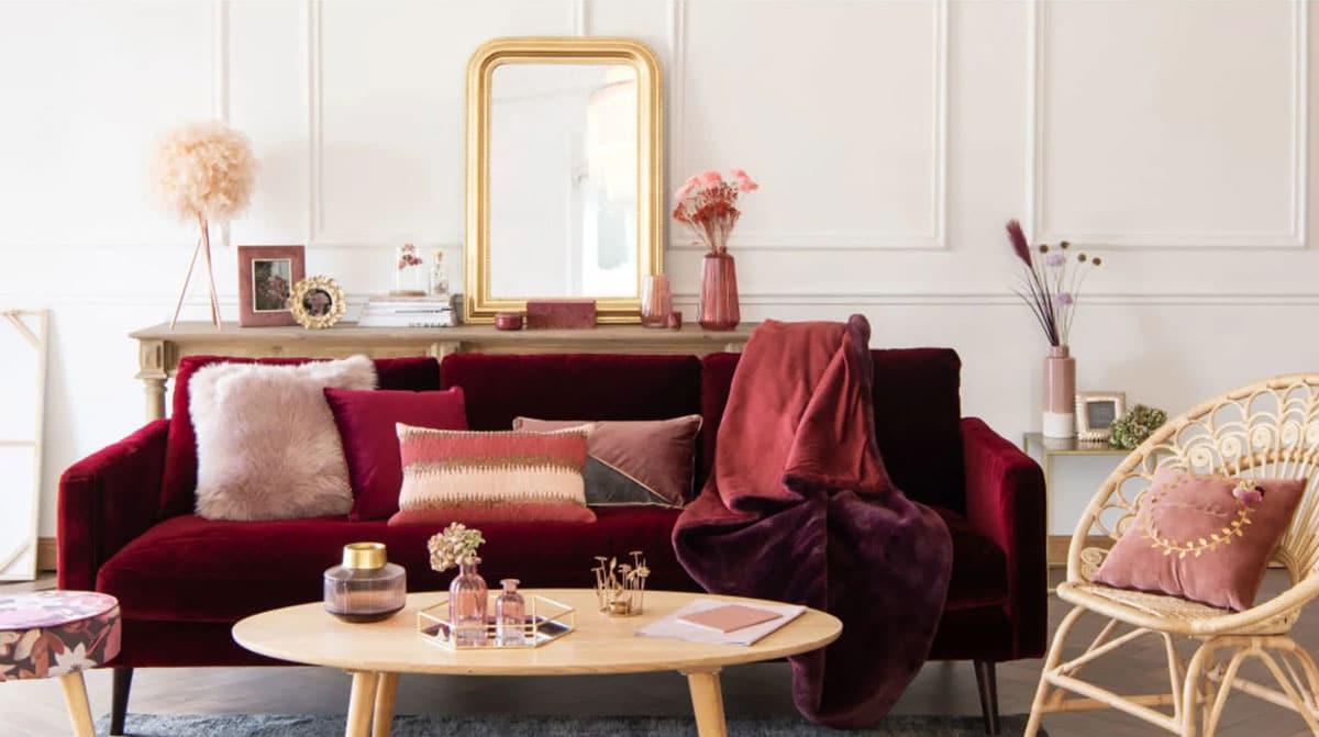 Deco Salon Gris Rose la couleur bordeaux refait son apparition parmis les