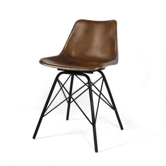chaise industrielle en cuir