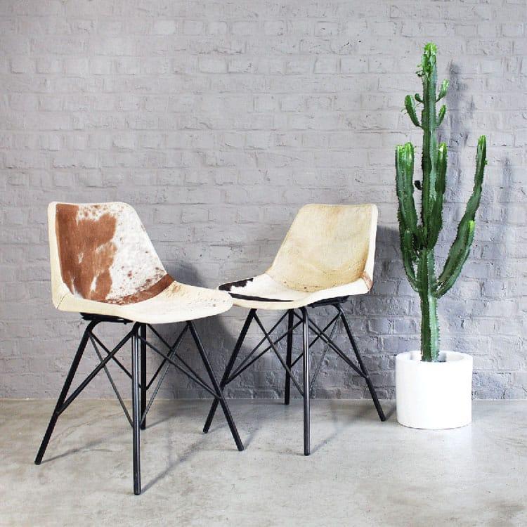Chaise style industriel en fourrure
