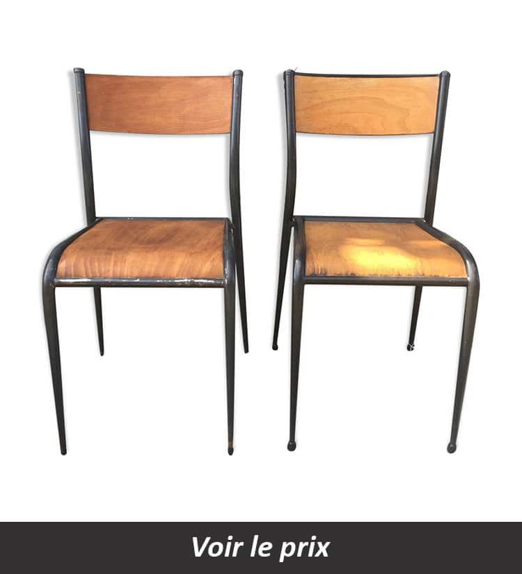 chaise industriel en bois et métal