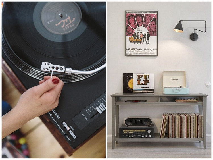 une d co avec des disques vinyles pour un int rieur vintage. Black Bedroom Furniture Sets. Home Design Ideas