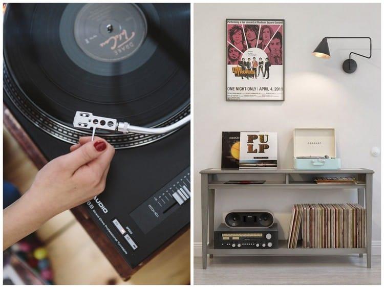 rangement disque vinyle caisse de rangement pour disques vinyles dual pouce rtro vintage en. Black Bedroom Furniture Sets. Home Design Ideas
