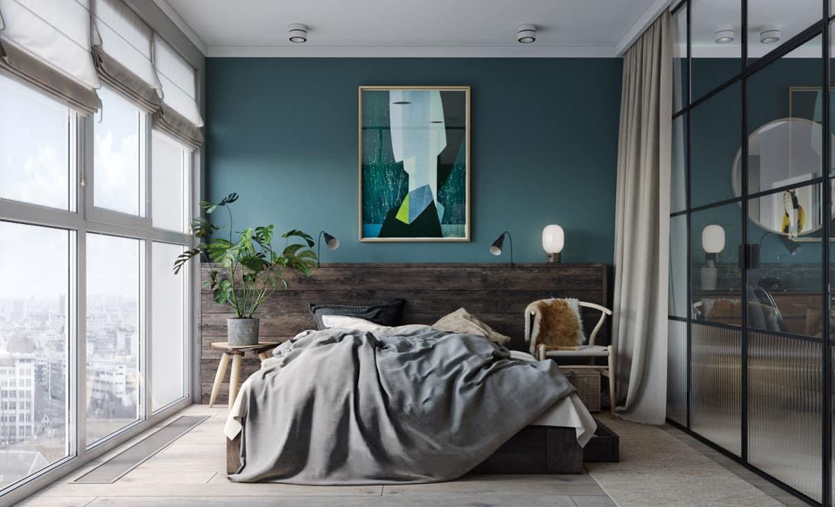 Charmant Chambre Mur Bleu Canard
