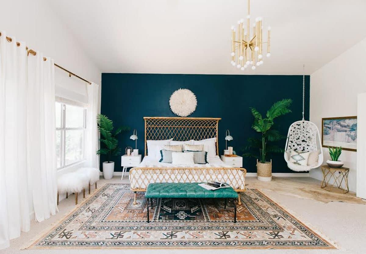 Chambre Avec Mur Bleu Canard