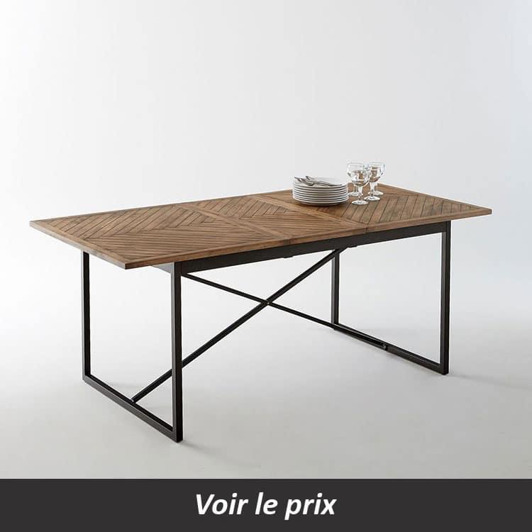 Table avec plateau bois et pied métal