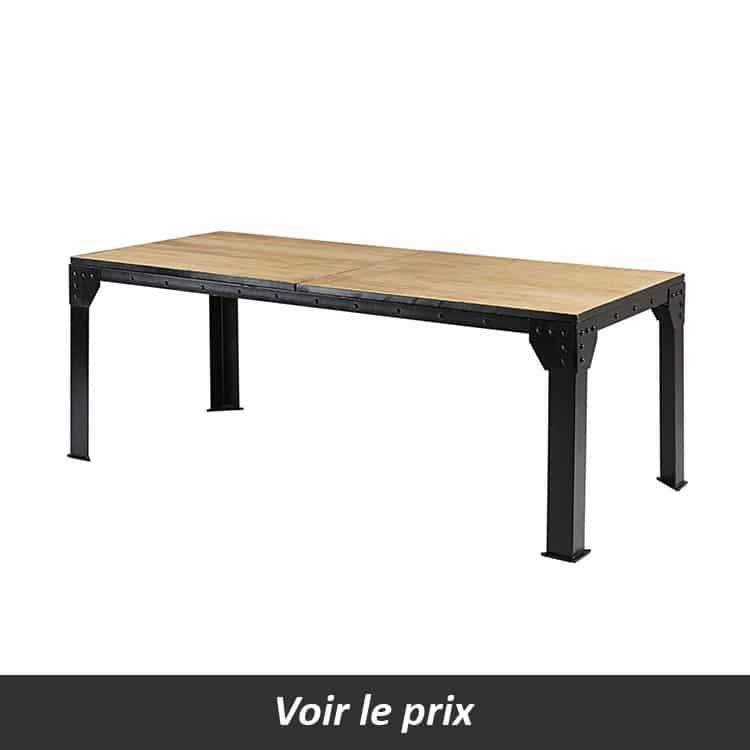 Table avec plateau bois et pied métal avec rivets