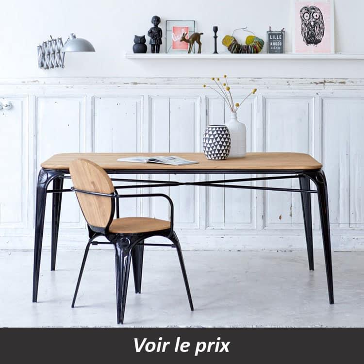 Table avec plateau bois et pied métal intérieur extérieur