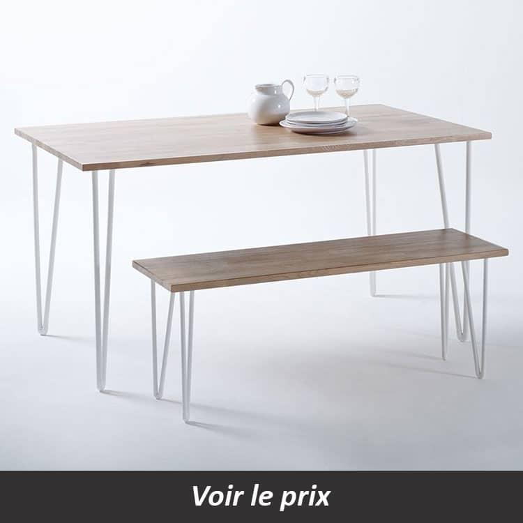 Table contemporaine avec plateau bois et pied métal