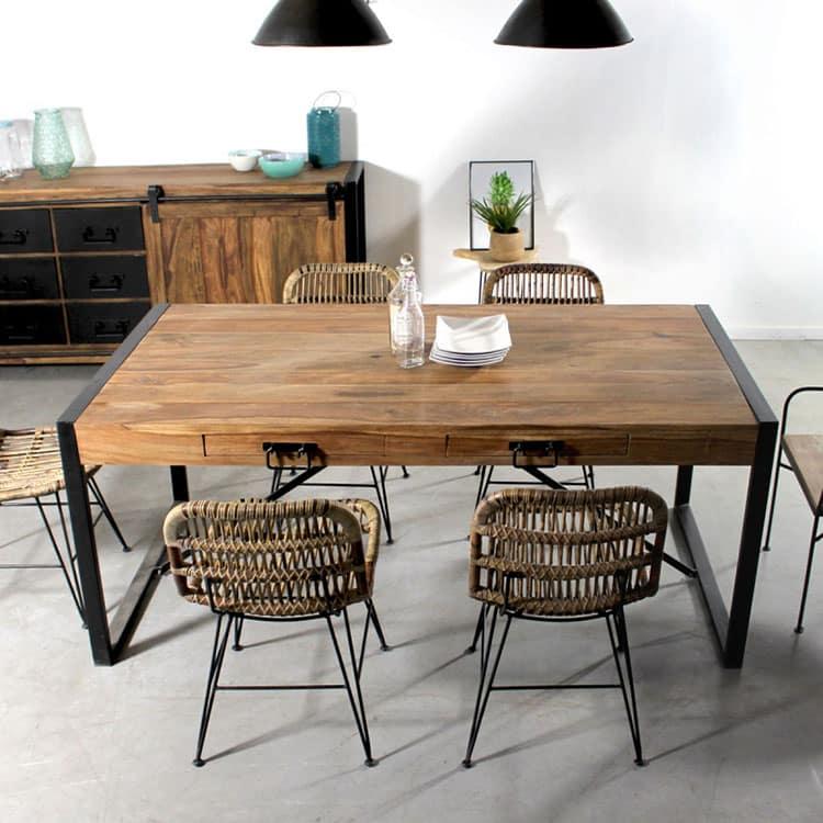 Quelle table plateau bois pied métal choisir pour sa salleà manger? # Table Plateau Bois Pied Metal