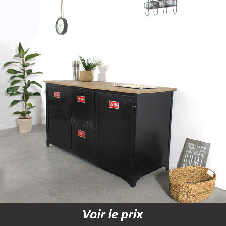 buffet industriel en métal noir made in meuble