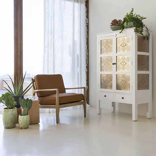 Fauteuil style scandinave bois et cuir