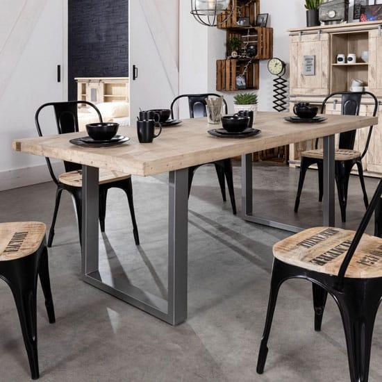 Table en bois blanchi et pieds en métal gris