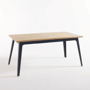 Table plateau bois pied métal