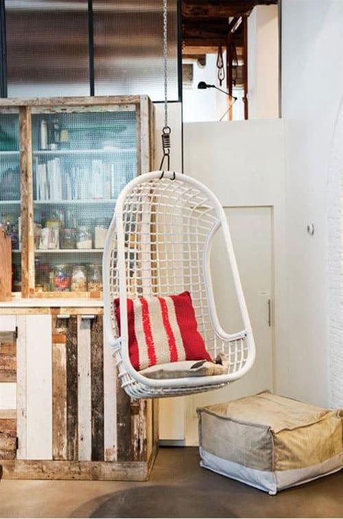 fauteuil suspendu blanc