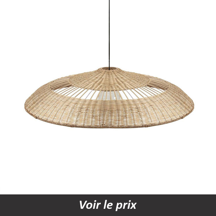 suspension grande taille en rotin