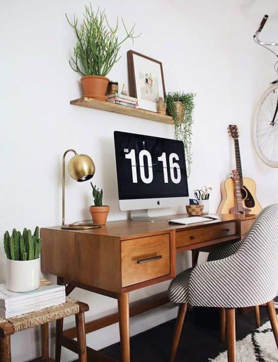 Plante grimpante sur étagère de bureau