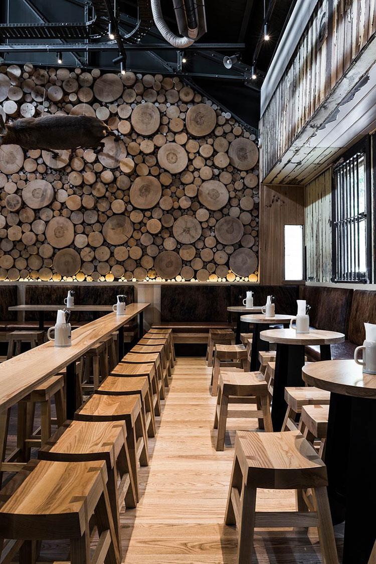 mur en rondelles de bois