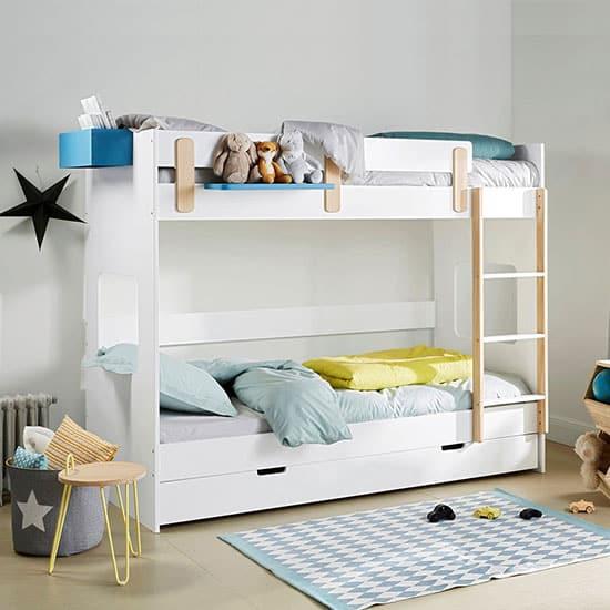 Lit superposé blanc et bois pour enfant