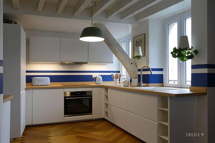 cuisine bleu et blanche