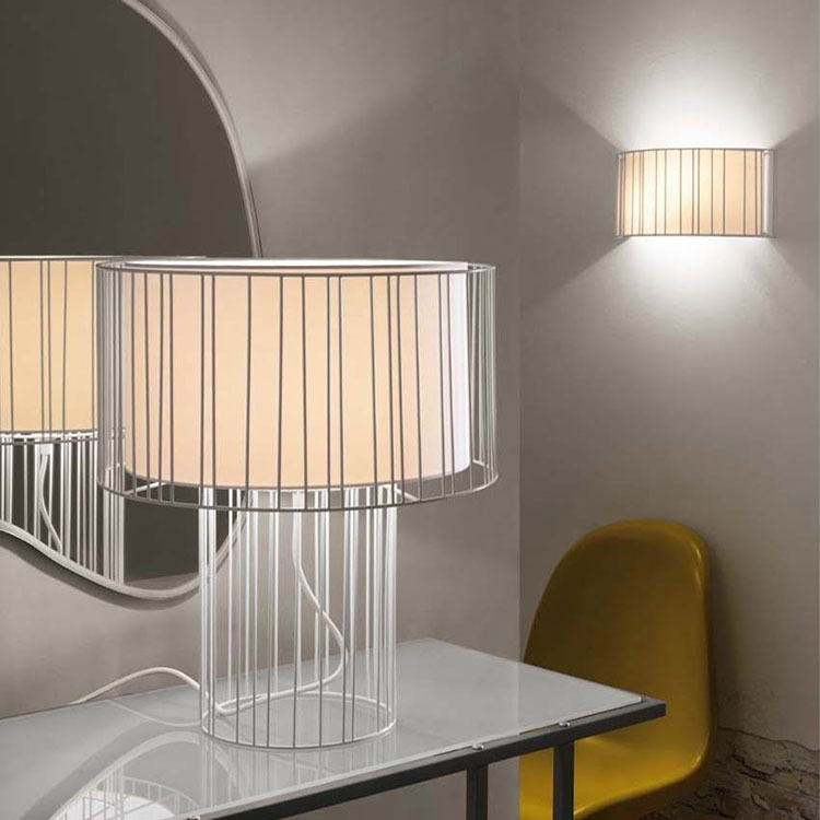 Lampe cage blanche