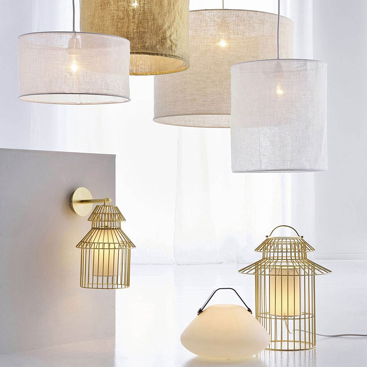 Lampe cage dorée