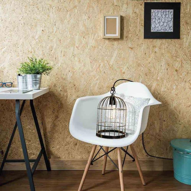 Lampe cage oiseaux en cuivre