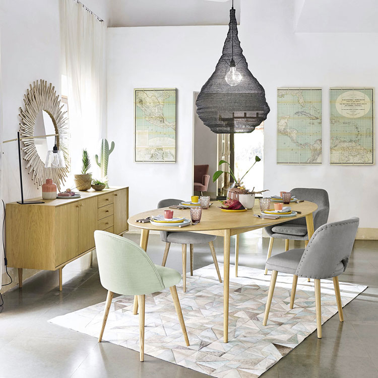 Table ovale extensible scandinave
