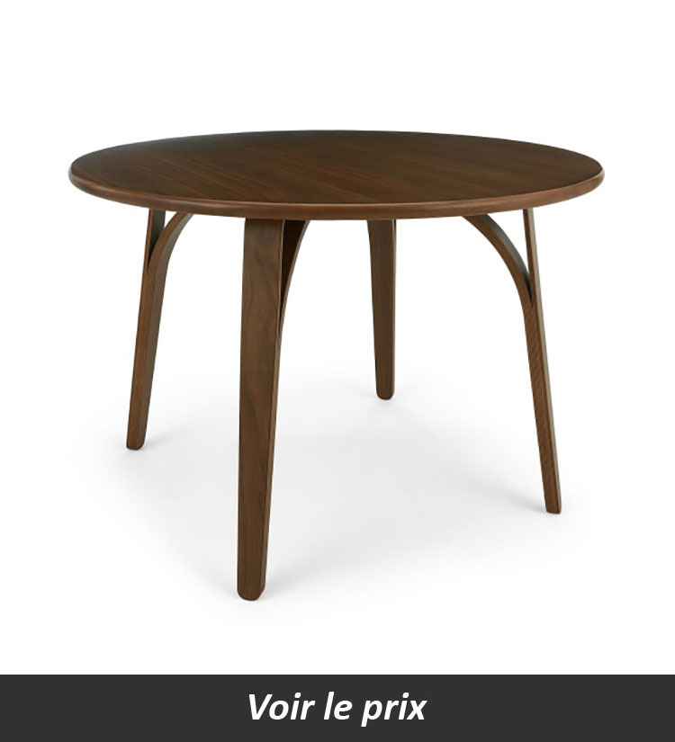 Table scandinave ronde noyer