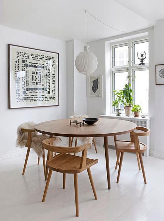 table scandinave ronde en bois