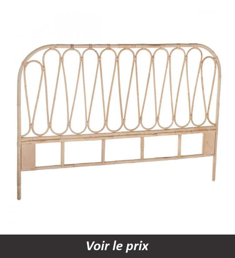 tete de lit en rotin bohème