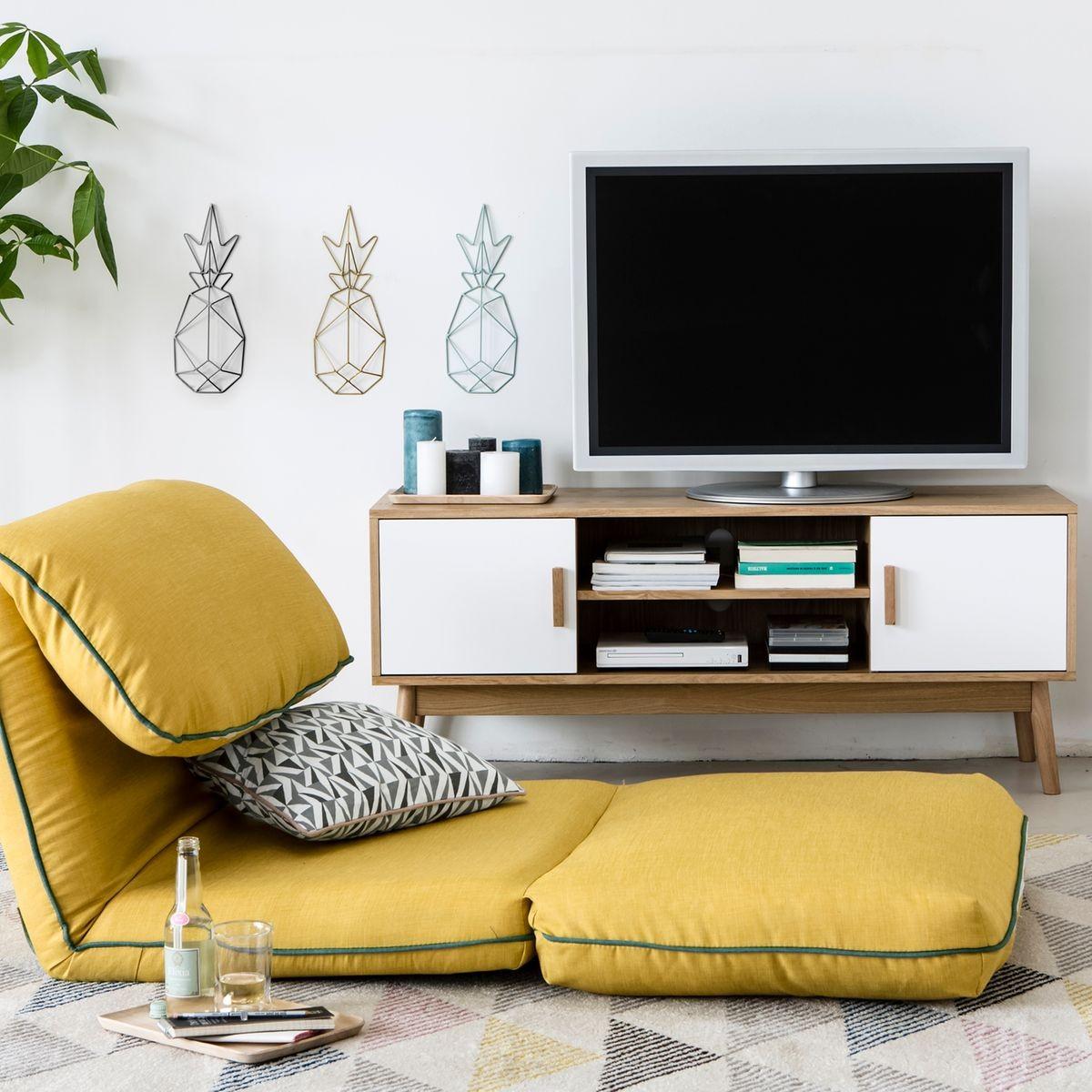 Meuble tv scandinave blanc et bois