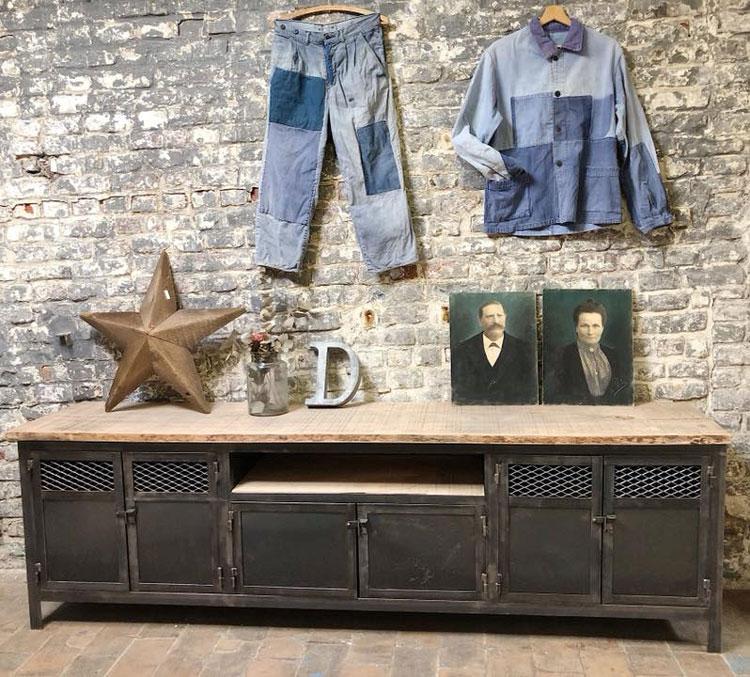 meuble tv industriel en bois