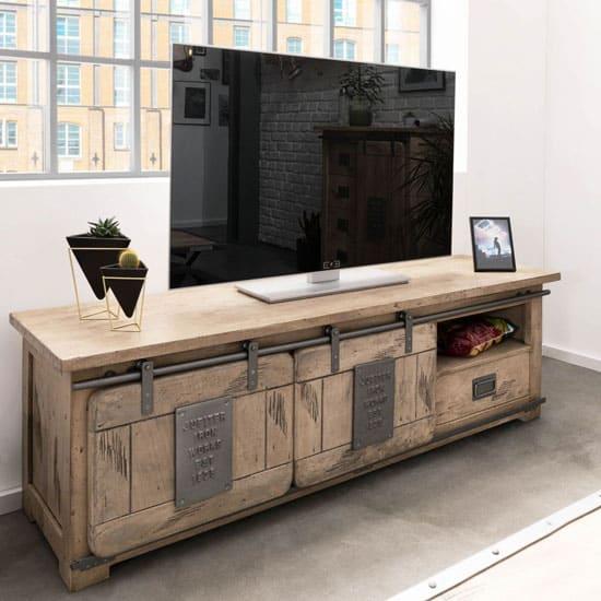 Meuble tv industriel blanchi