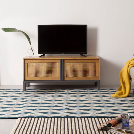 Meuble tv scandinave rotin