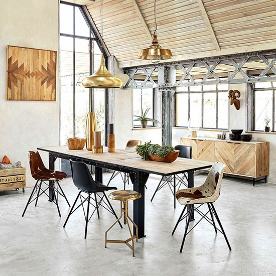 Table salle a manger extensible industrielle