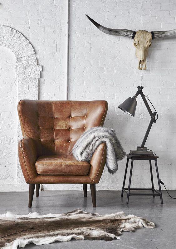fauteuil cuir marron vintage
