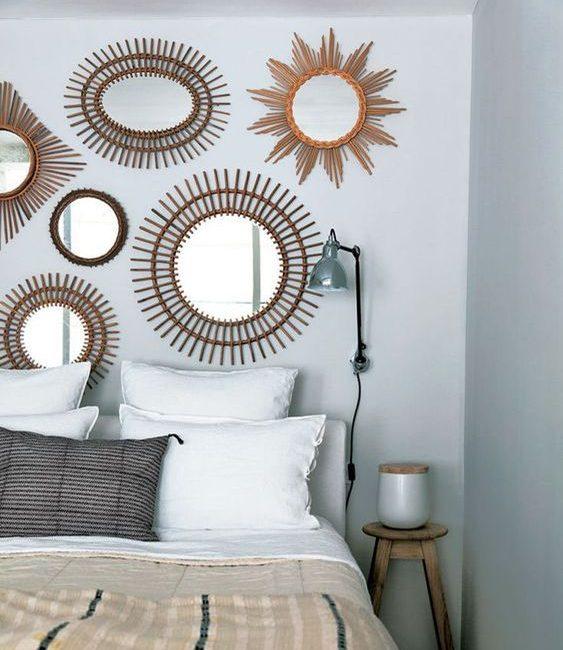 Déco mur blanc miroirs