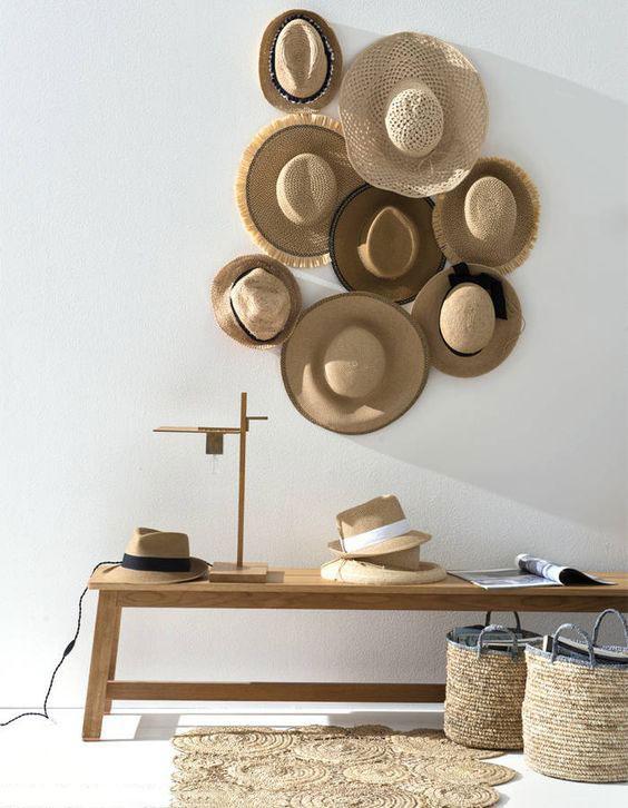 Déco mur blanc chapeaux