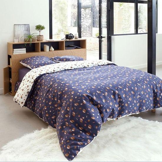 Tête de lit en bois avec rangement