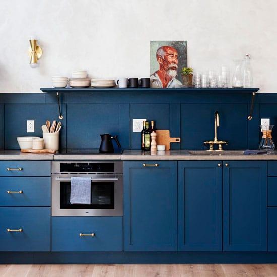 cuisine bleue et dorée