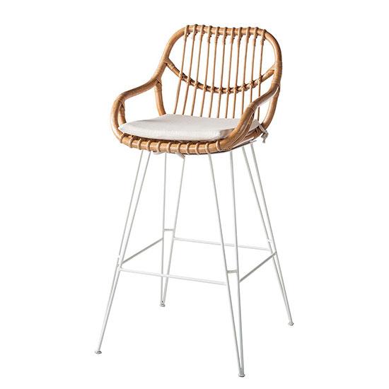 Chaise de bar en rotin blanc