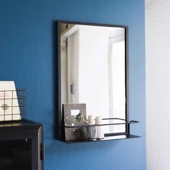 Miroir rectangulaire en métal noir