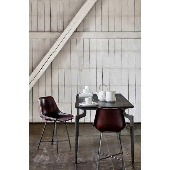 Chaise en métal et cuir vintage